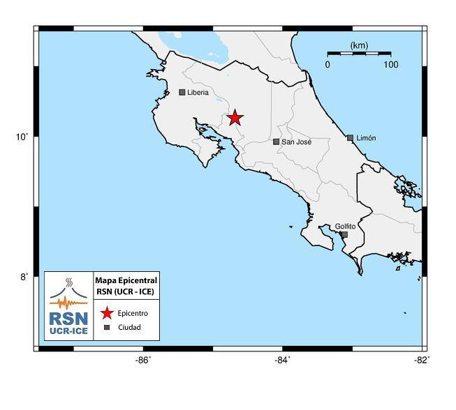 Map showing epicenter of Sunday's earthquake in Costa Rica.