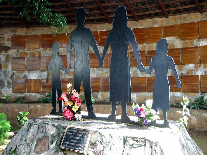 Memorial of massacre site at El Mozote, Morazan, El Salvador.