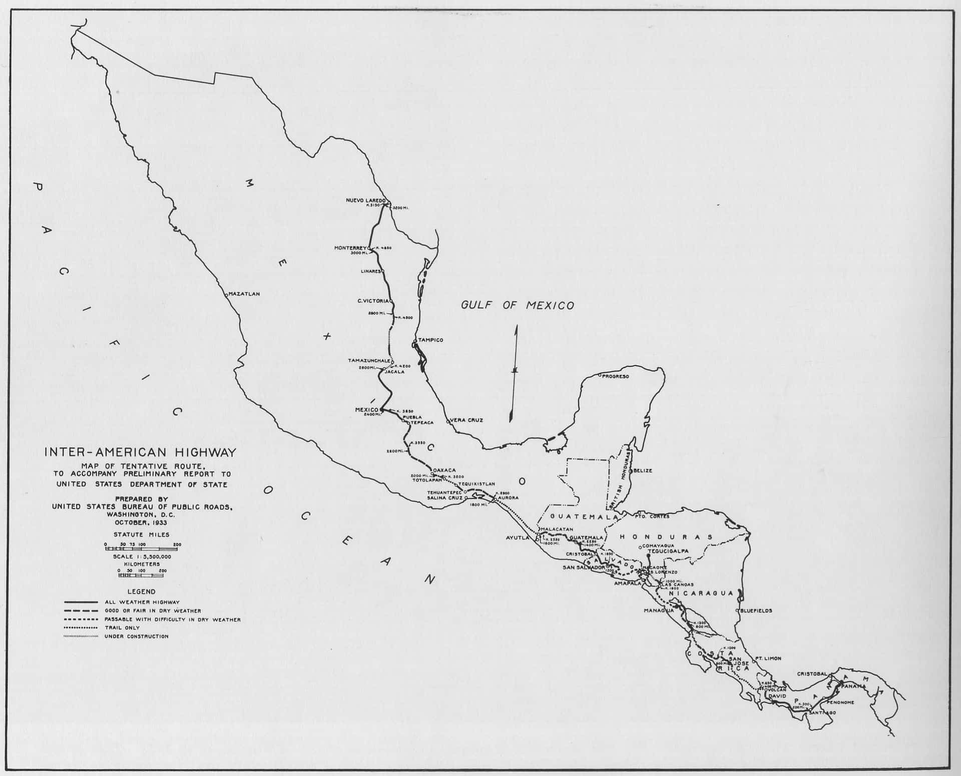 1933 map of the Inter-American Highway