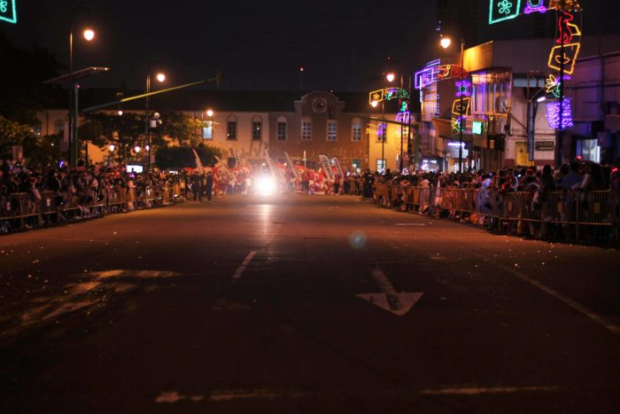 The streets are lined with onlookers as they wait for the Festival de la Luz to begin