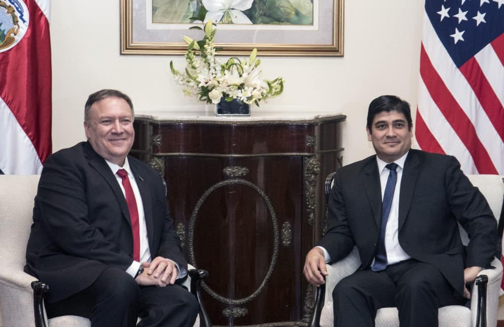 Mike Pompeo and Carlos Alvarado in Costa Rica