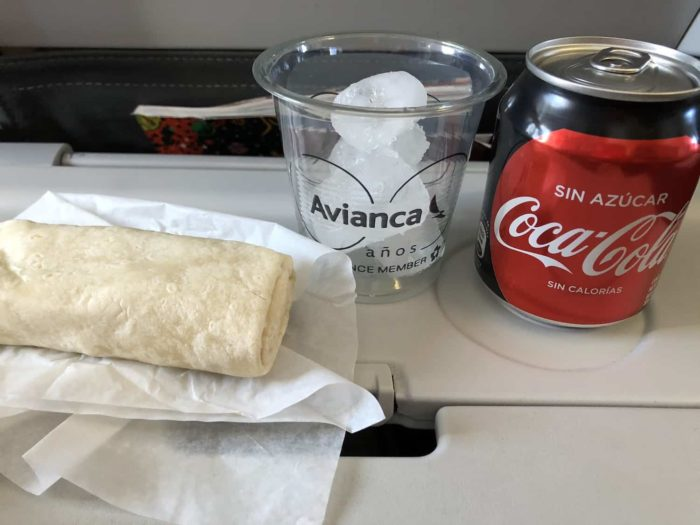 Avianca inflight meal