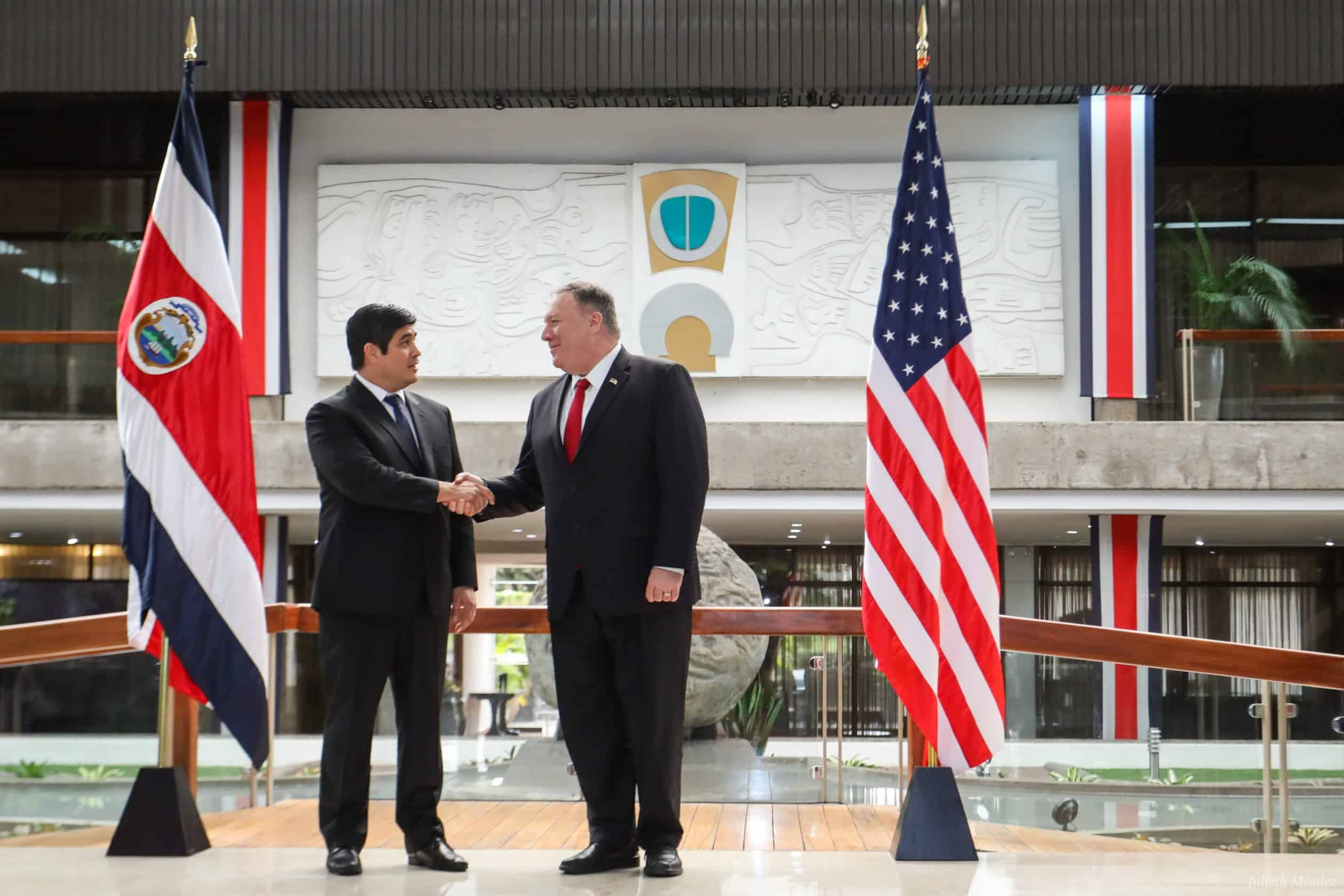 President Carlos Alvarado meets with U.S. Secretary of State Mike Pompeo.