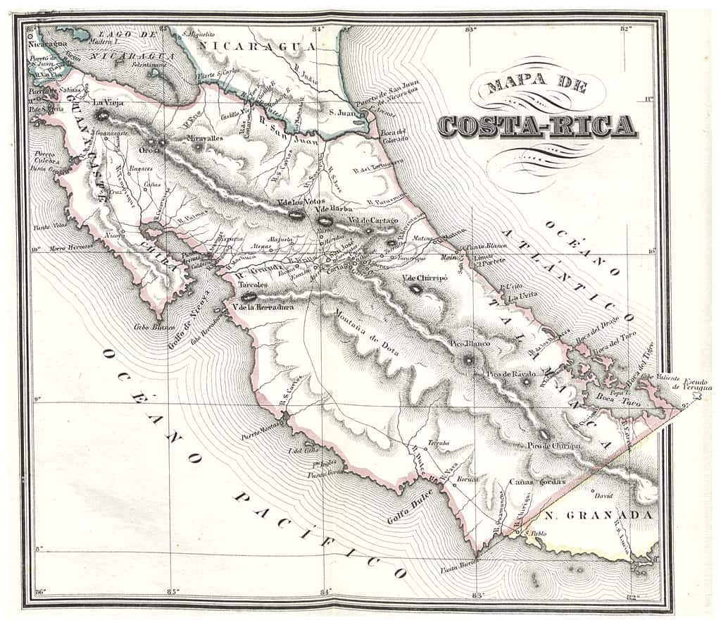 An 1800s map of Costa Rica
