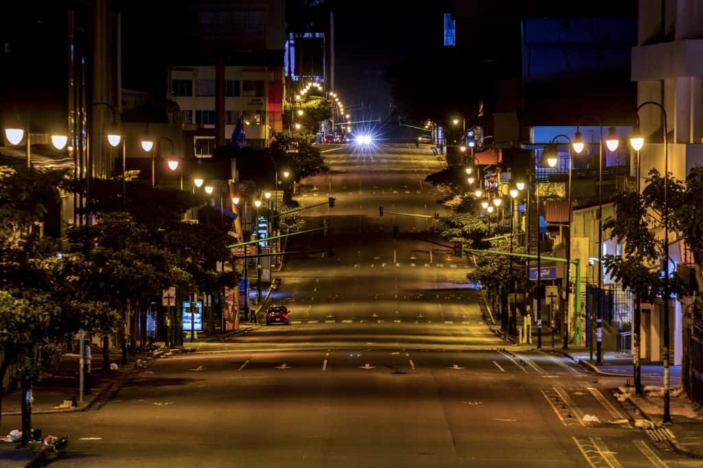 View of an empty street in San José, Costa Rica on March 26, 2020.