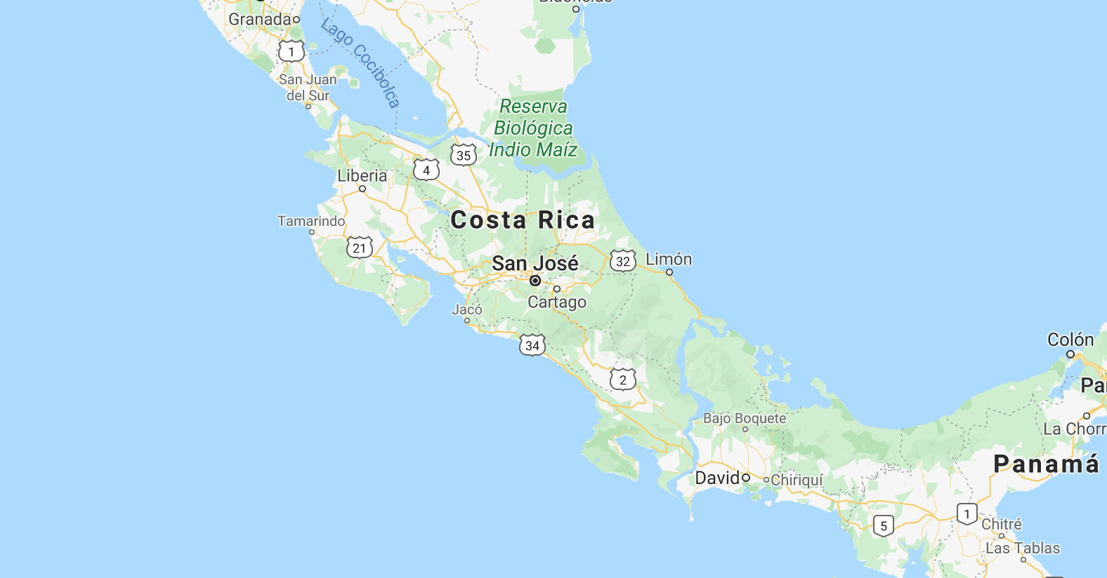 Updated map of Costa Rica