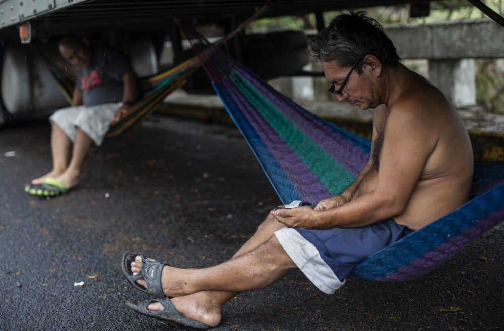 Truckers on the border between Costa Rica and Nicaragua