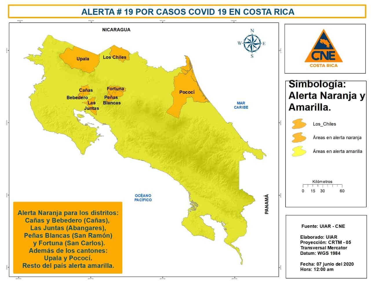 A map showing areas of Costa Rica under an orange alert due to the coronavirus.
