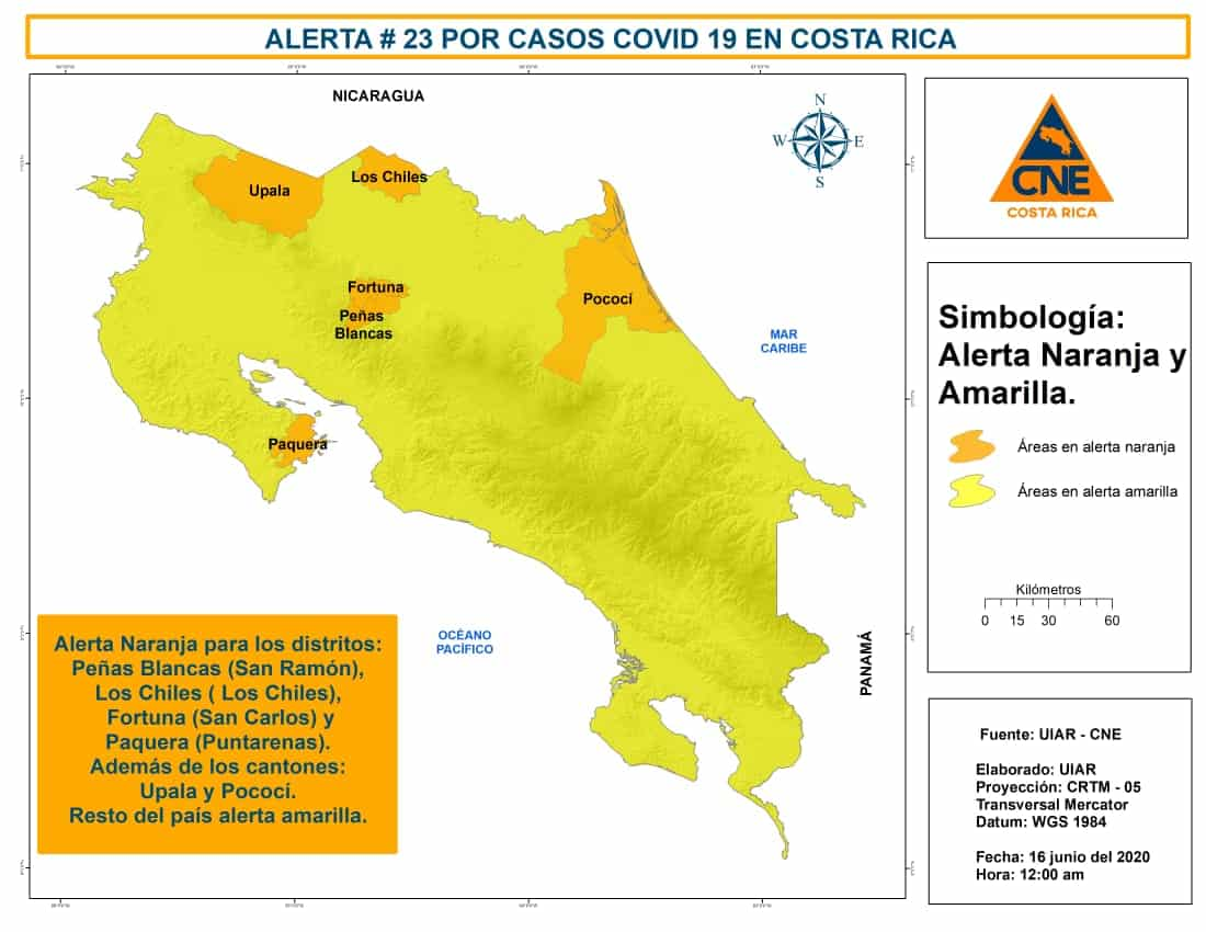 Orange and yellow alerts in Costa Rica as of June 16, 2020.