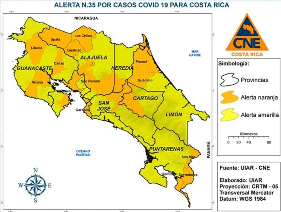Costa Rica orange alert starting July 20, 2020