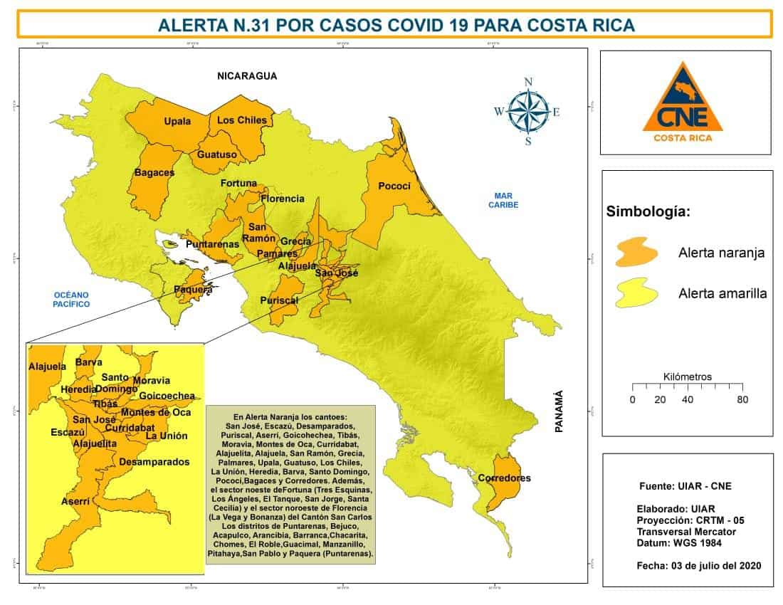 Areas in Costa Rica under an orange alert as of July 3, 2020.