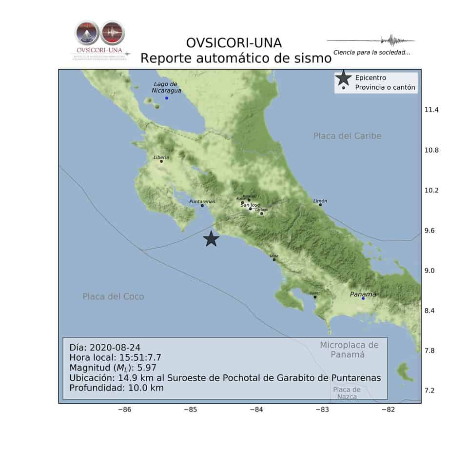 OVSICORI image showing a preliminary report of a Costa Rica earthquake on August 24, 2020.