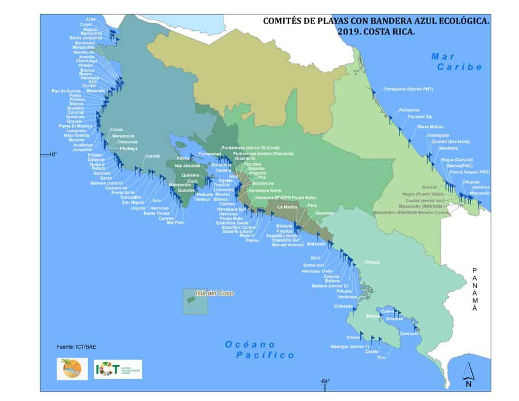 Blue flag beaches in Costa Rica as of August 5, 2020.