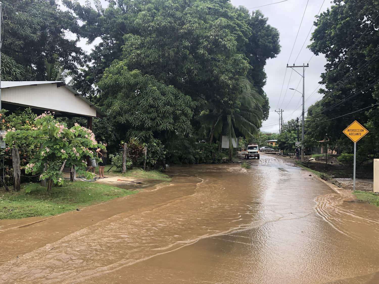 A flooded road near downtown Potrero, Guanacaste.