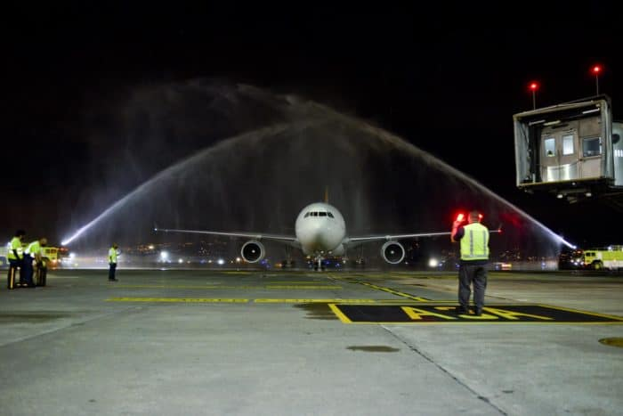 Watch: Iberia plane receives water-cannon salute as commercial flights resume in Costa Rica