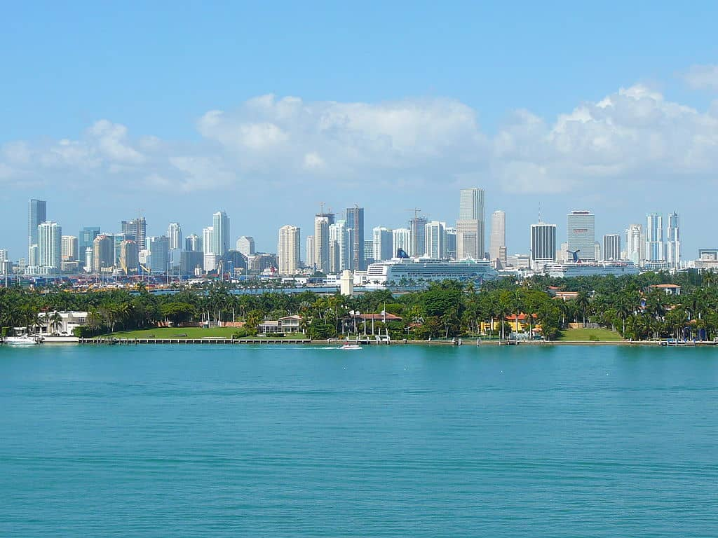 The skyline of downtown Miami as seen from South Beach.