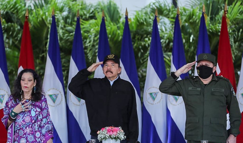 Nicaraguan President Daniel Ortega (C), his wife and Vice President Rosario Murillo (L) and Army Chief Julio Cesar Aviles during the 41st anniversary of the Nicaraguan Army, at the Plaza de la Revolucion, in Managua