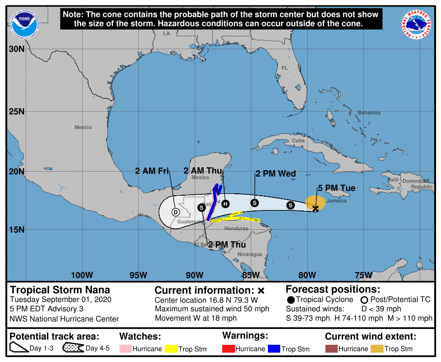 Predicted path of Tropical Storm Nana.