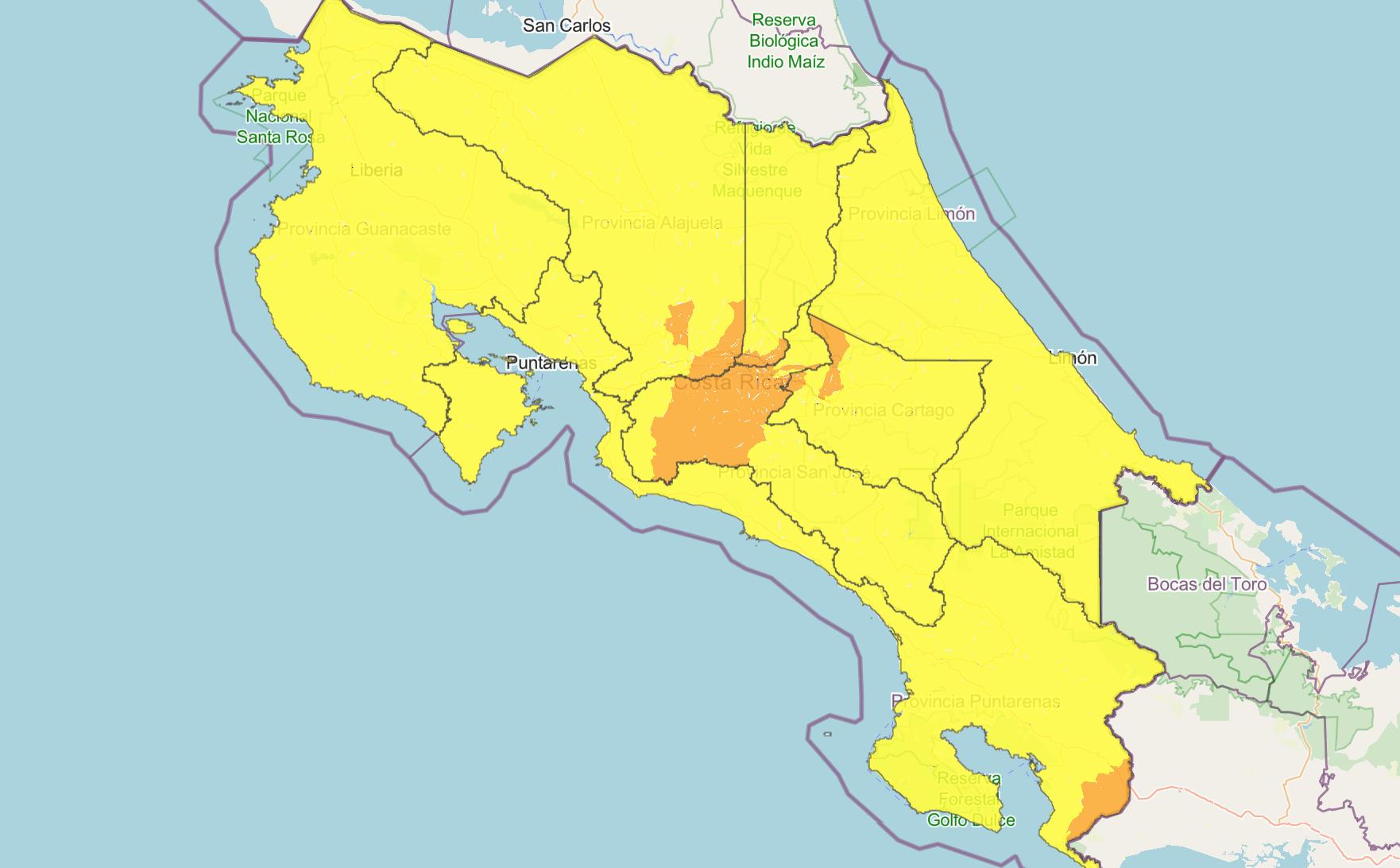 Map of Costa Rica coronavirus alert levels on Tuesday, September 1.