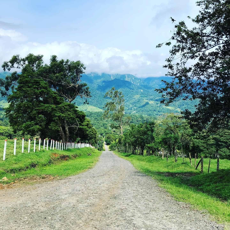A Costa Rica mountain road ib Bijagua overlooking Miravalles Volcano.