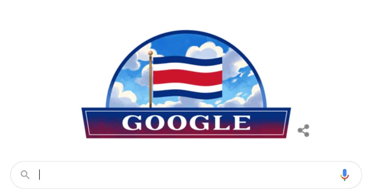 Costa Rica Independence Day 2020 Google Doodle.