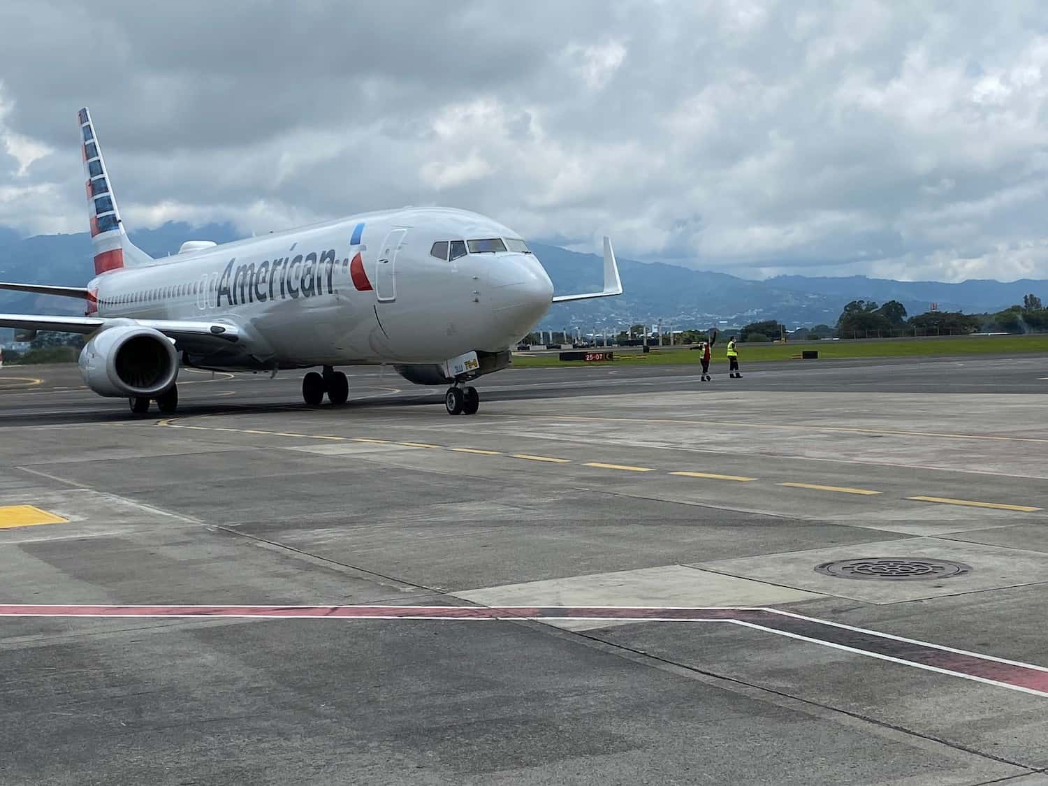 An American Airlines Boeing 737 at Juan Santamaría International Airport (SJO) near San José, Costa Rica.