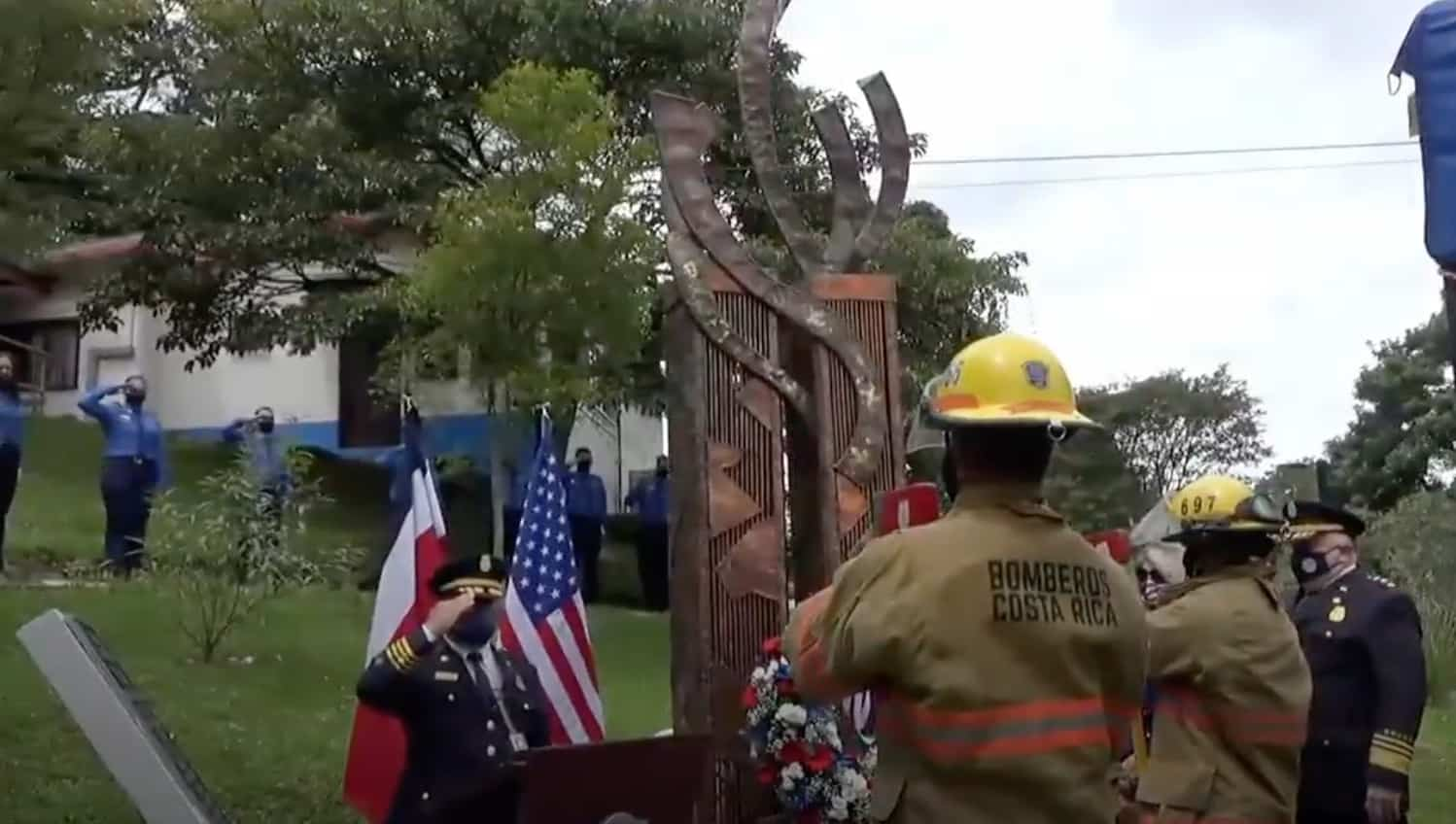 Wreath-laying ceremony honoring victims of the September 11 terrorist attacks.