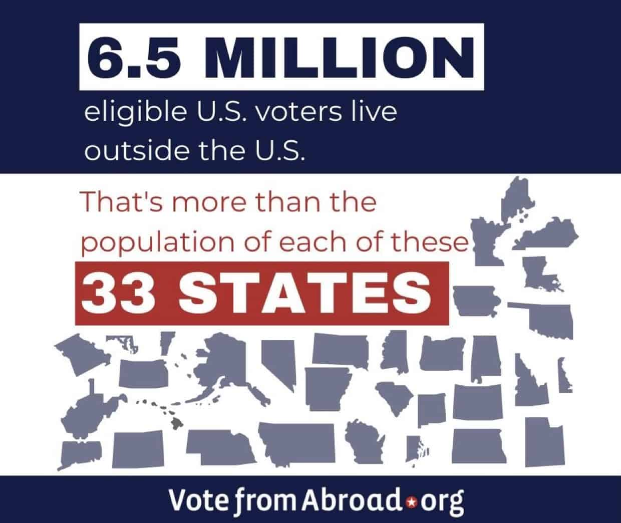 Any US citizen eligible to vote can do so no matter where they live in the world.