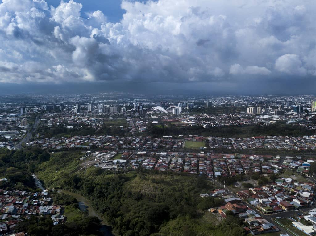 Aerial view of San Jose, Costa Rica, taken on May 23, 2020 during the COVID-19 coronavirus pandemic.