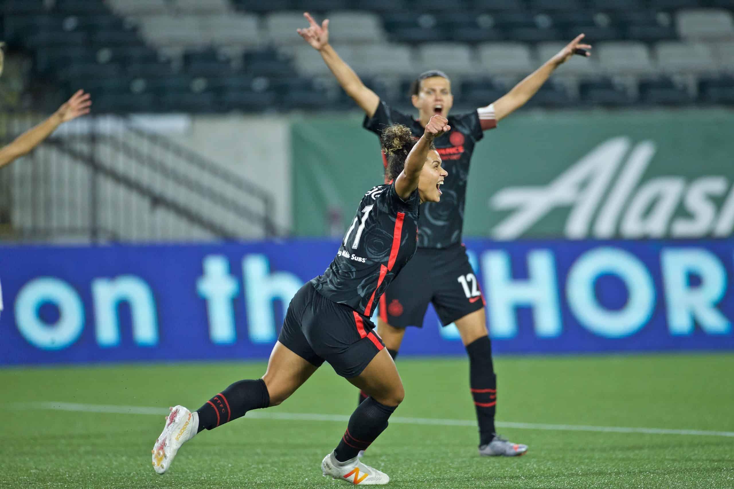Raquel Rodríguez celebrates a goal with the Portland Thorns on September 30, 2020.
