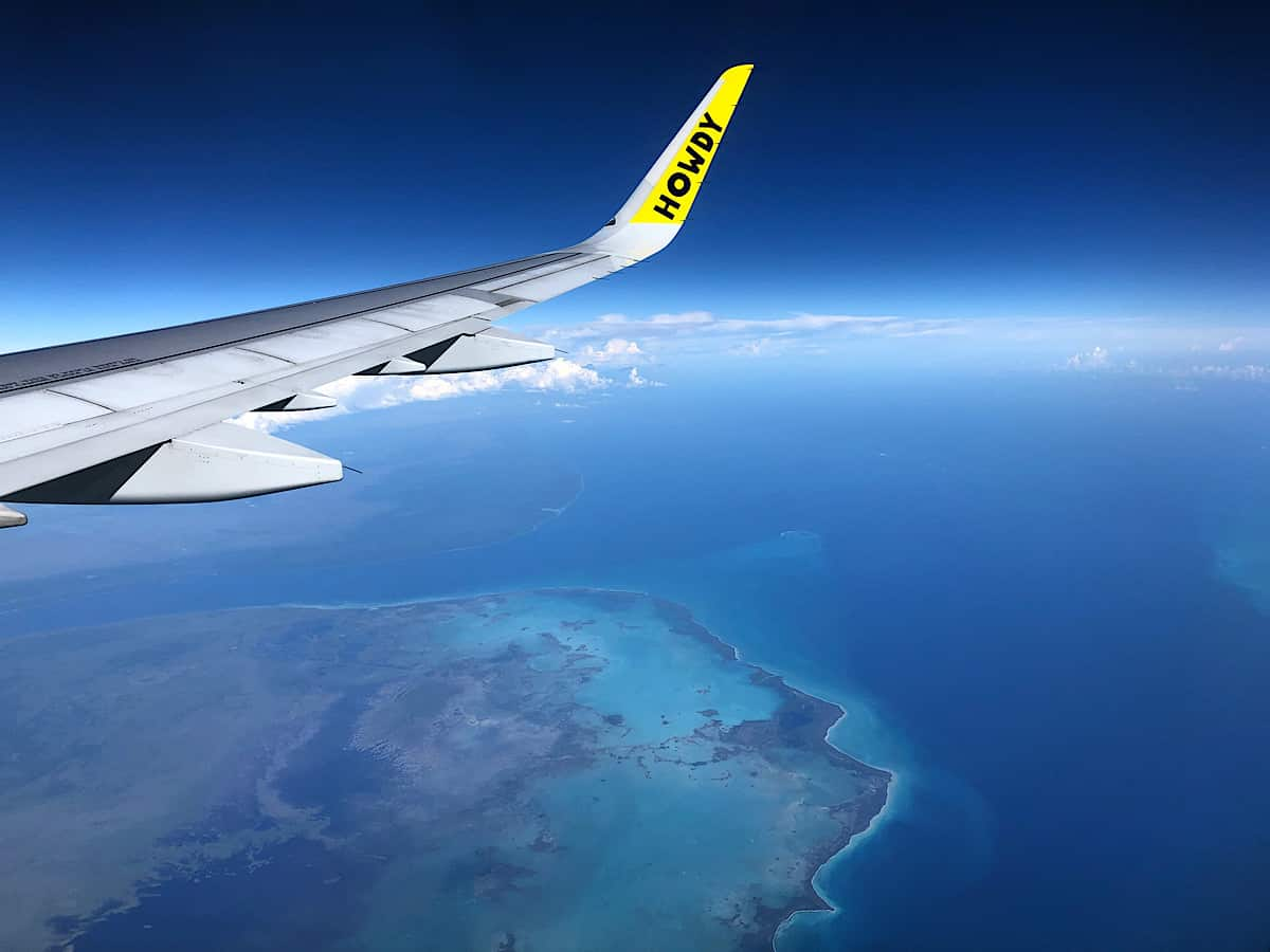 A Spirit Airlines flight over the Caribbean Sea from Costa Rica to Fort Lauderdale, Fla.