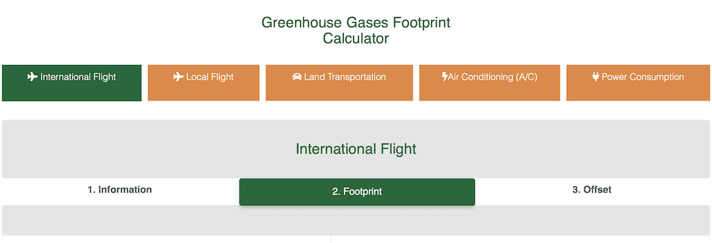 The Costa Rica carbon footprint offset tool.
