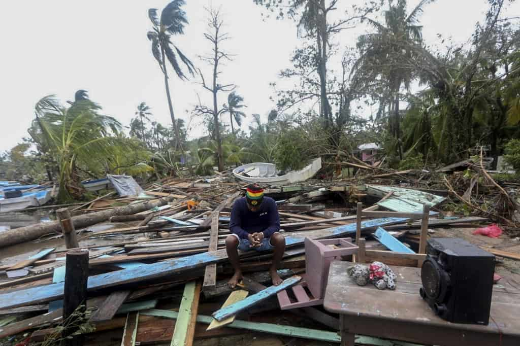 A man reacts as he looks at damages caused by the passage of Hurricane Eta in Puerto Cabezas, Nicaragua, on November 4, 2020.