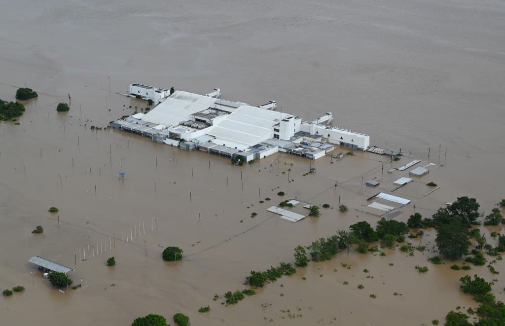 Aerial view of the flooded Ramon Villeda Morales airport in San Pedro Sula, 240 km north of Tegucigalpa, taken on November 18, 2020 after the passage of Hurricane Iota.