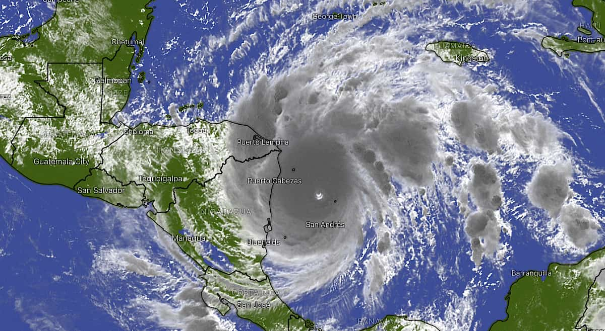 Satellite image of Hurricane Iota approaching Central America on November 16, 2020.