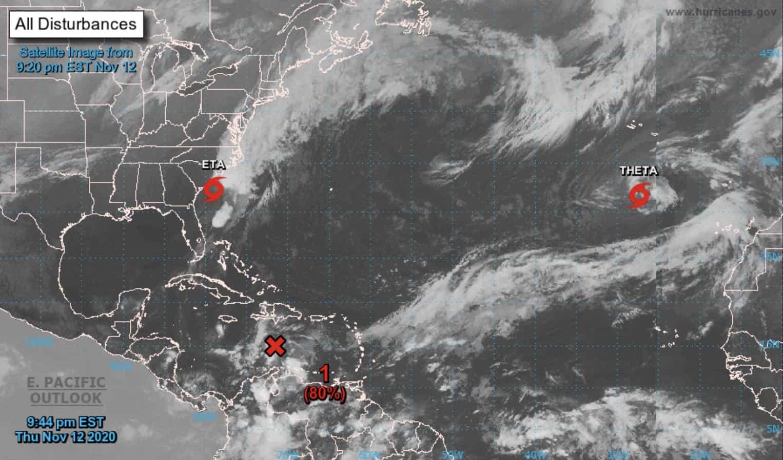 A tropical wave over the Caribbean Sea on November 12, 2020.