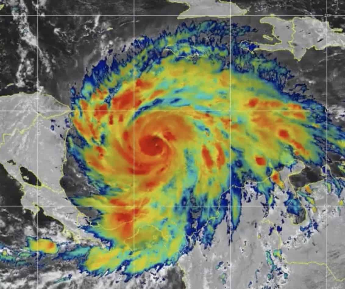 Hurricane Iota approaches Central America on November 15, 2020.