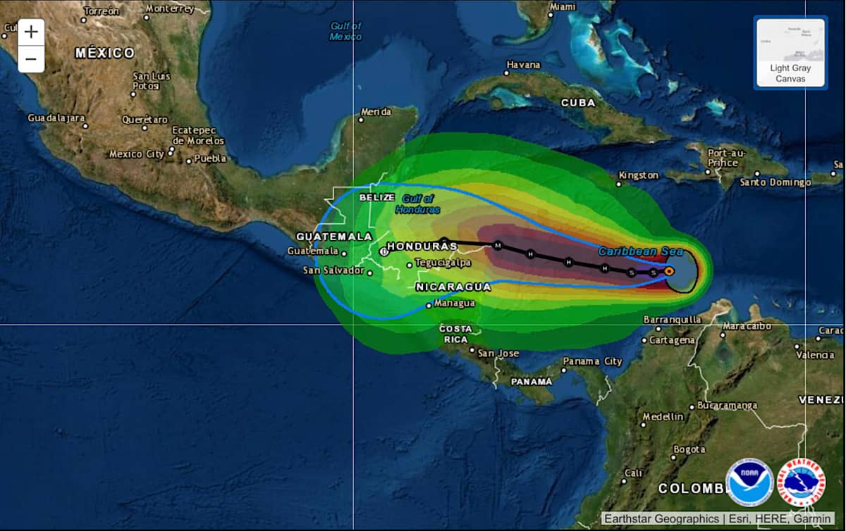 An image showing Tropical Storm Iota's projected path and wind projections.