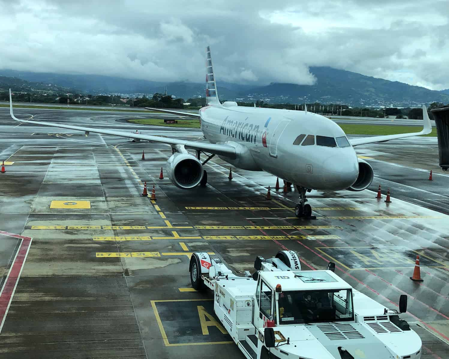 An American Airlines plane at Juan Santamaría International Airport (SJO) near San José, Costa Rica.