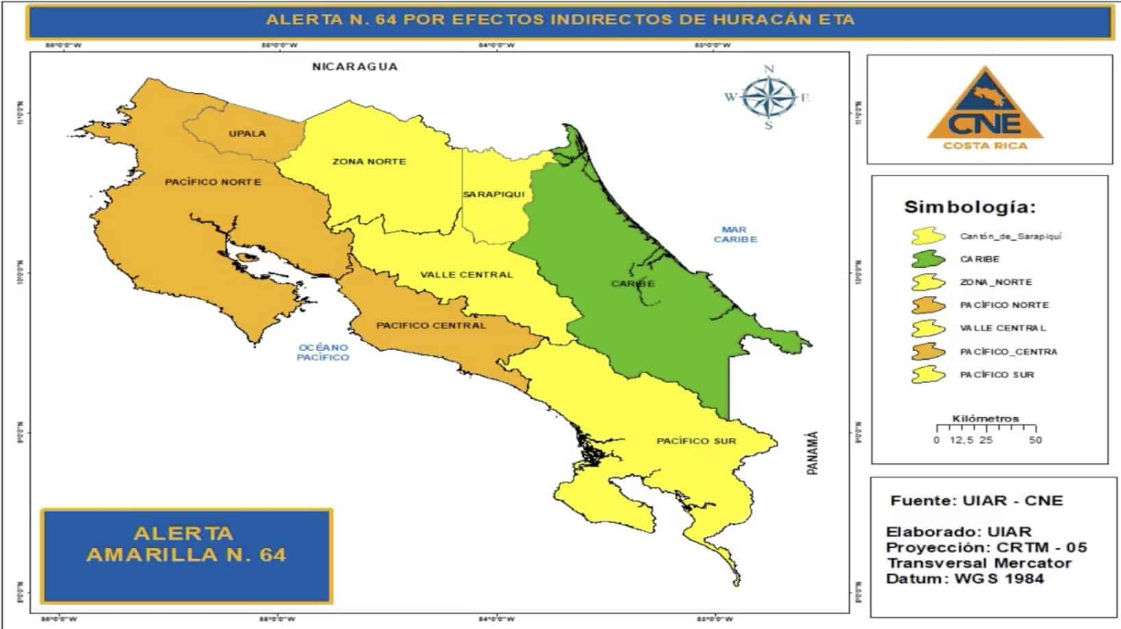 Map of weather alerts in Costa Rica related to Hurricane Eta.