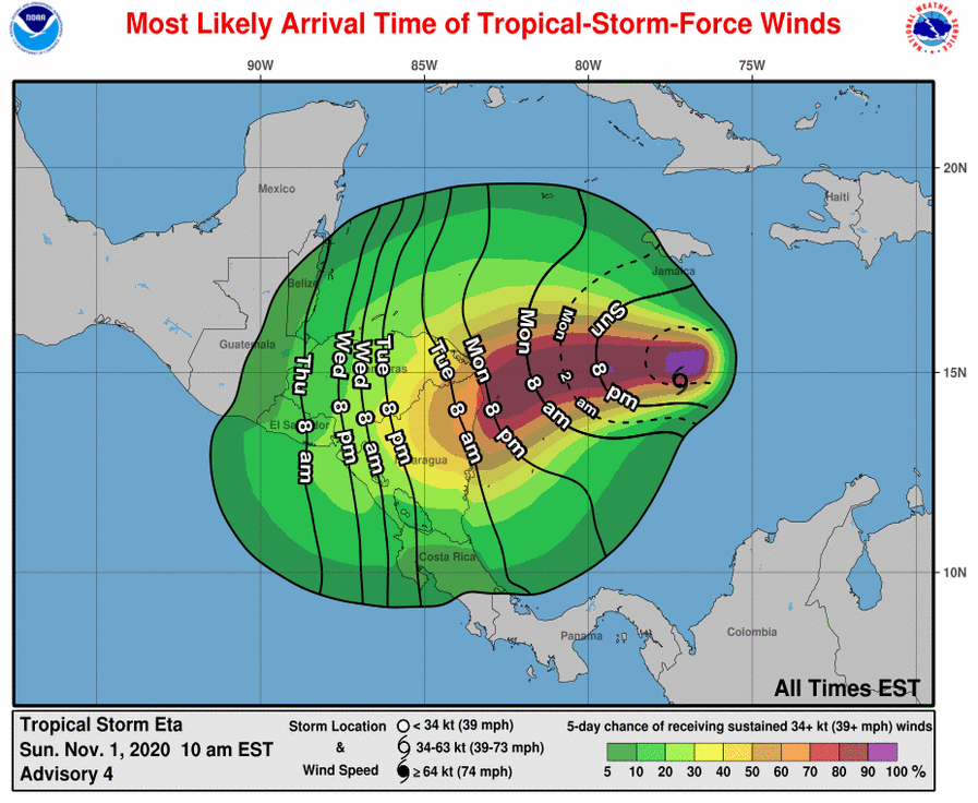 Sustained tropical storm force winds from #Eta are likely to begin within the warning areas by Monday evening and Monday night. Heavy rains and gusty squalls could begin reaching the coast before that time.