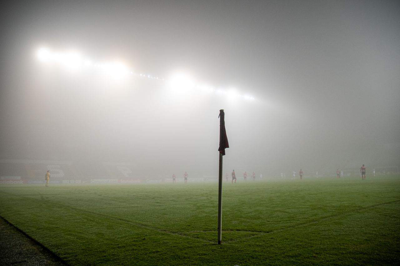 Pitch-level view at Ricardo Saprissa Stadium during a match on November 5, 2020.