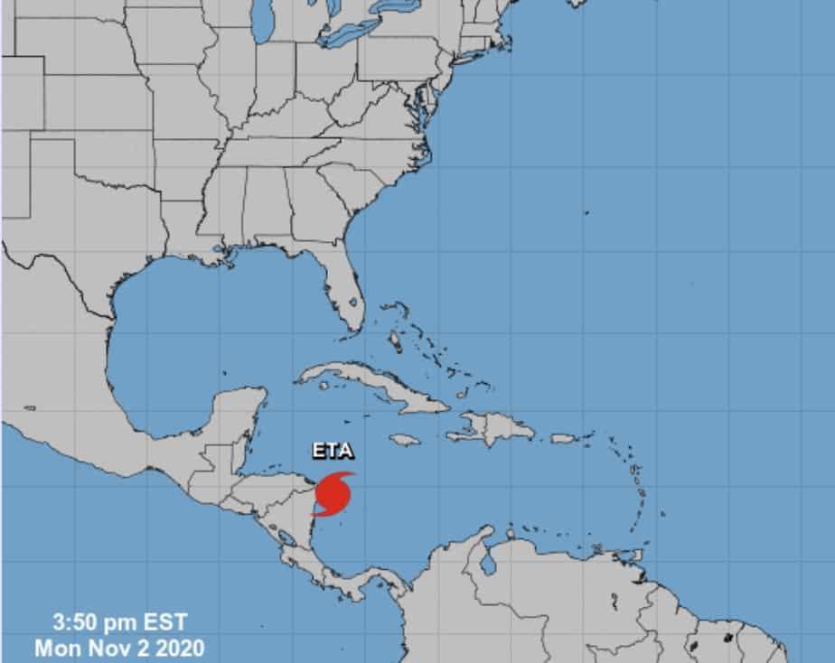 Hurricane Eta, a category 4 hurricane, at 3 p.m. on November 2, 2020.
