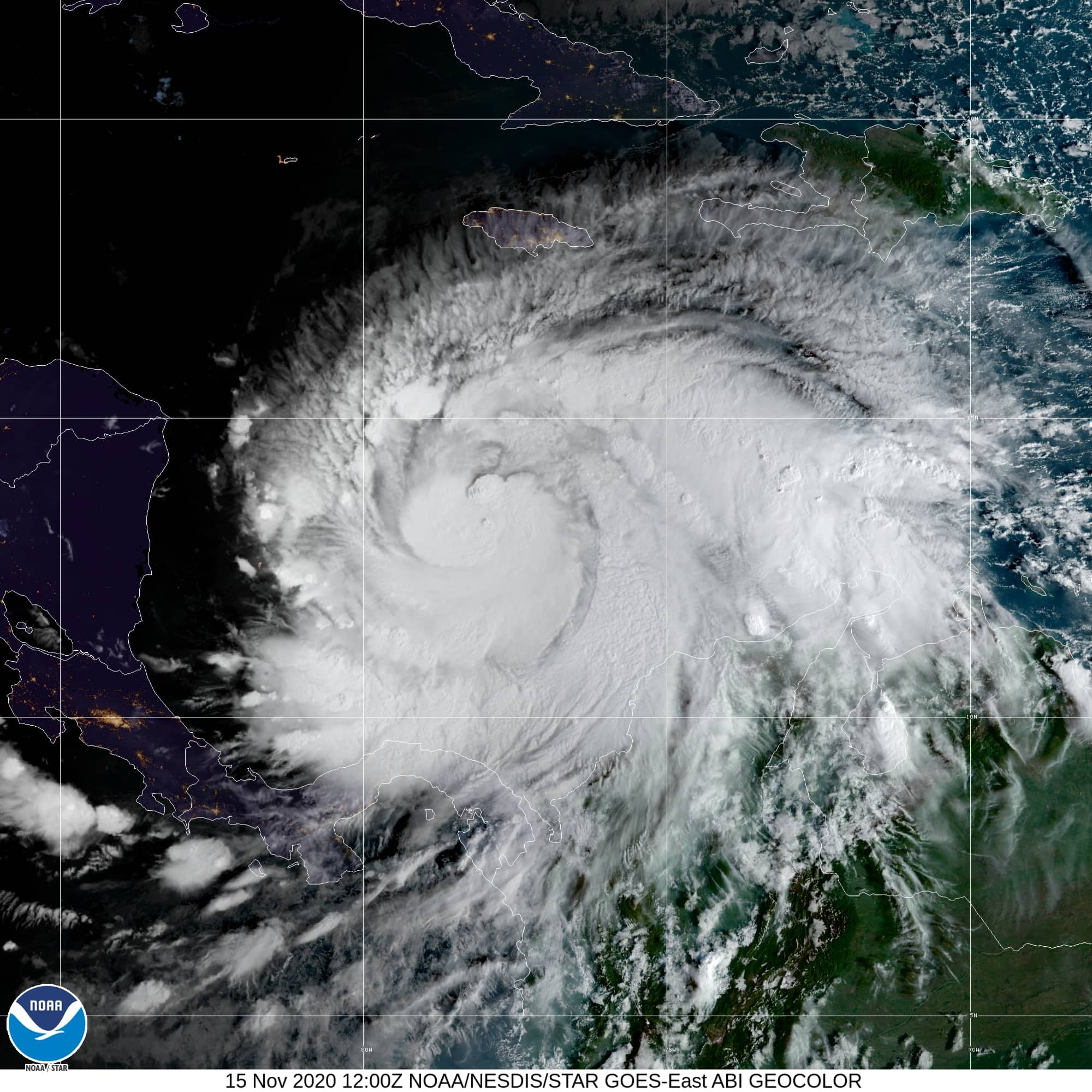 Satellite image of Hurricane Iota taken on November 15, 2020.