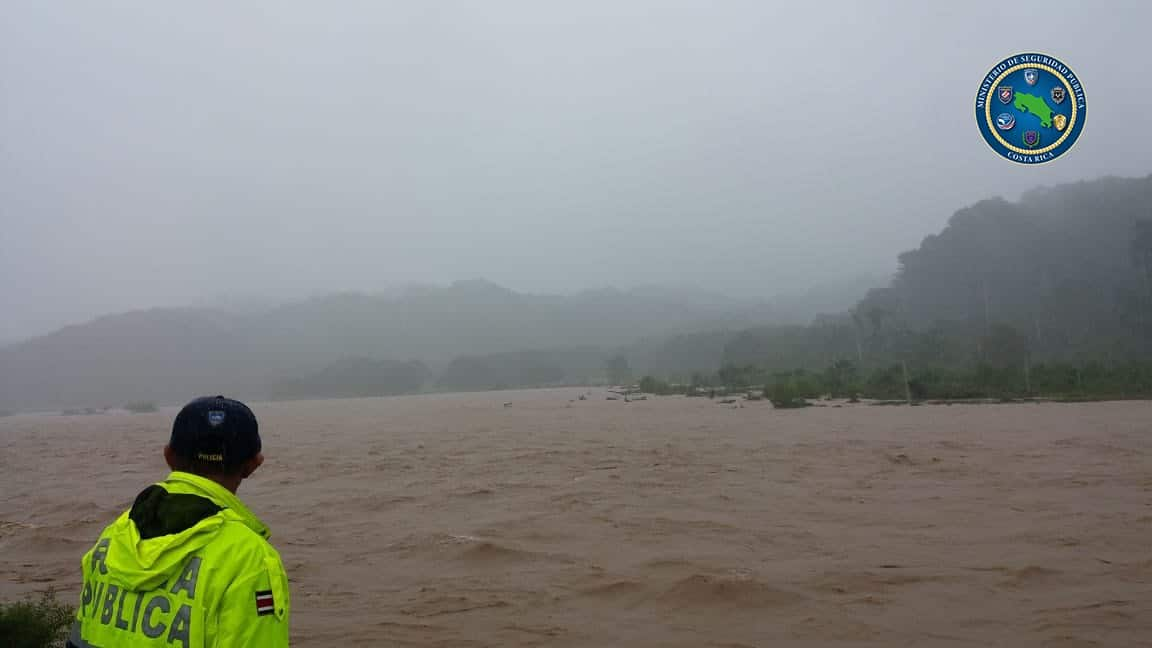 Overflowing river in Parrita, Puntarenas, Costa Rica on November 4 2020.