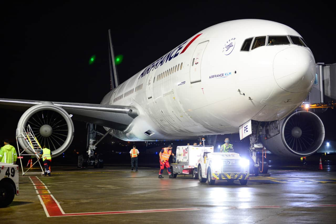 Air France Airbus A330 at Juan Santamaría International Airport near San José, Costa Rica on October 31, 2020.