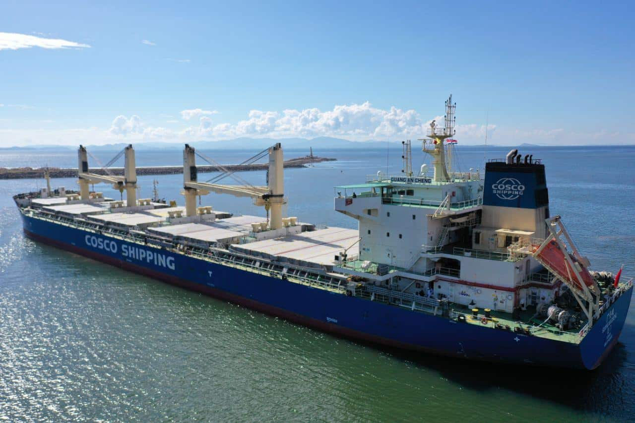 A container ship carrying Costa Rica's new train carriages arrives at Caldera, Puntarenas.