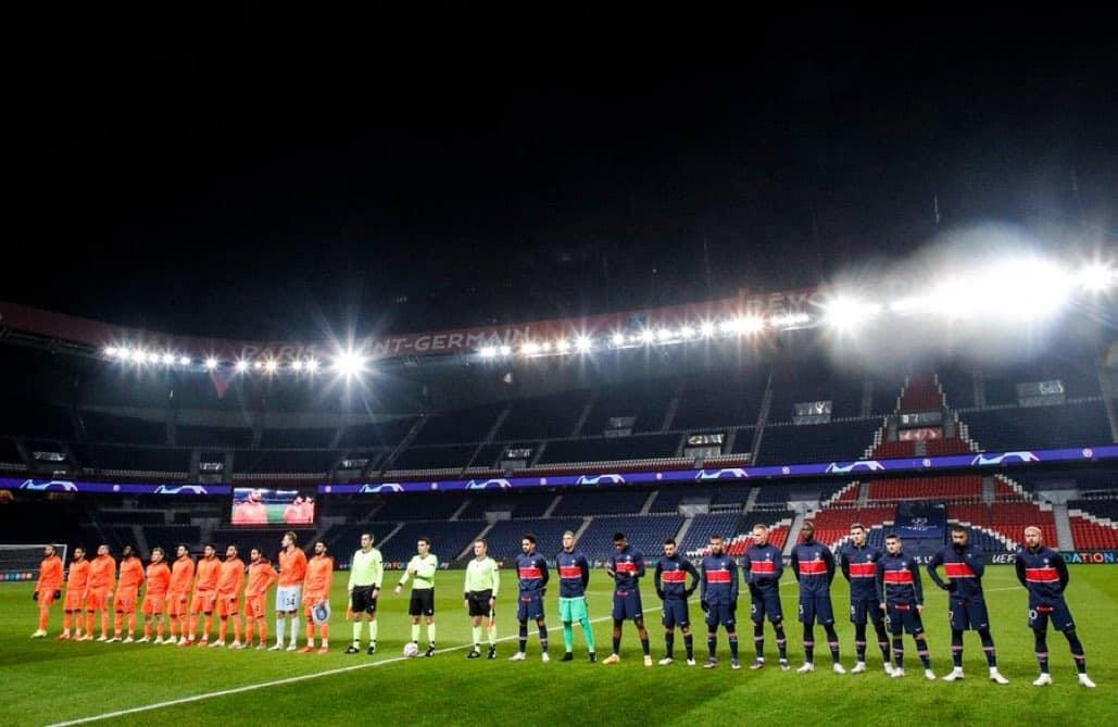 PSG and İstanbul Başakşehir FK ahead of a Champions League match on December 8, 2020.