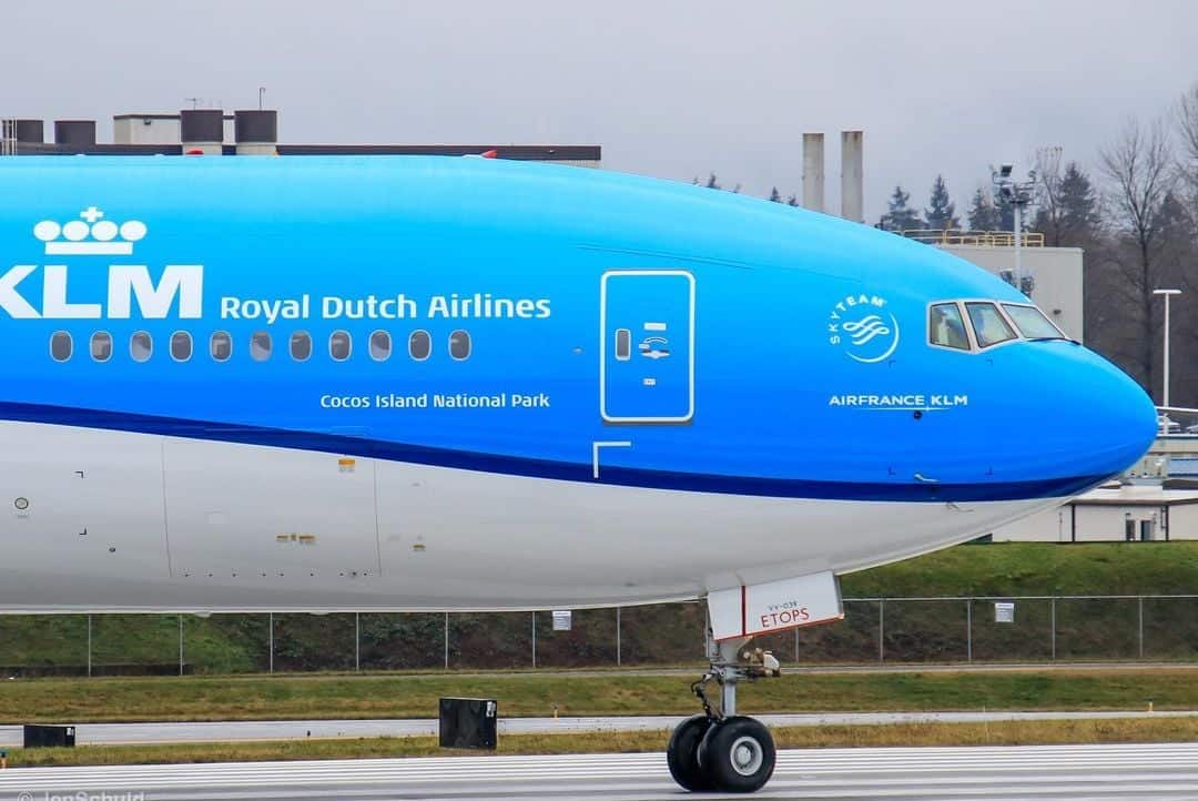 A KLM Boeing 777 airplane named after Cocos Island National Park.