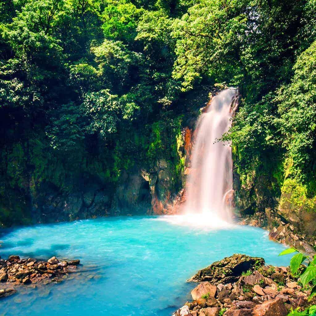 Río Celeste Waterfall in Tenorio National Park, Costa Rica.
